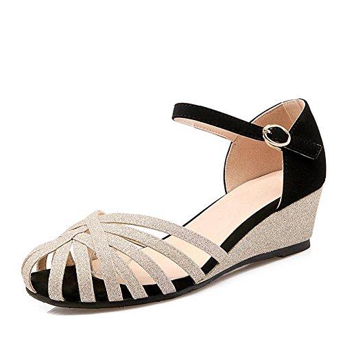 L@YC Zapatos De Cuña De La Mujer Sandalias De Cuero Planas De TamañO De CóDigo Hueco Una Palabra Con Una Plataforma Impermeable Black