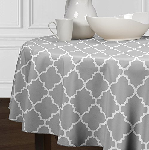 A LuxeHome Grey and White Modern Contemporary Trellis Tablecloths Dining Room Kitchen Round 72″