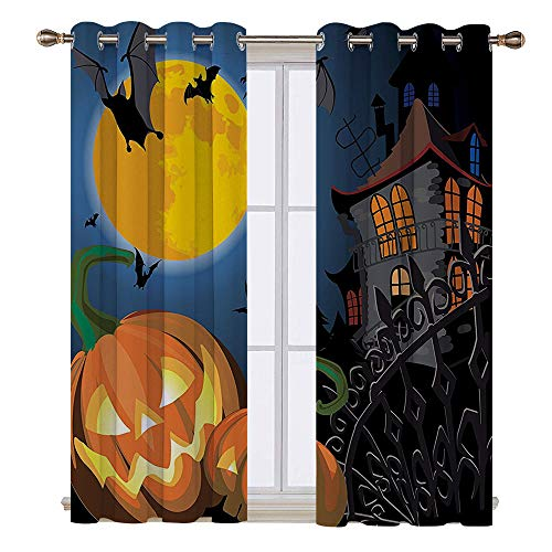 SATVSHOP Waterproof Window Curtain- 55W x 72L Inch-Draperies for Bedroom.Gothic Scene with Halloween Haunted House Party Theme Trick or Treat for Kids]()