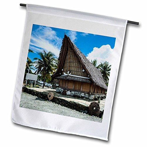 3dRose Danita Delimont - Micronesia - Traditional house with stone money in front, Island of Yap, Micronesia - 12 x 18 inch Garden Flag (fl_250433_1) (Hut In Village)