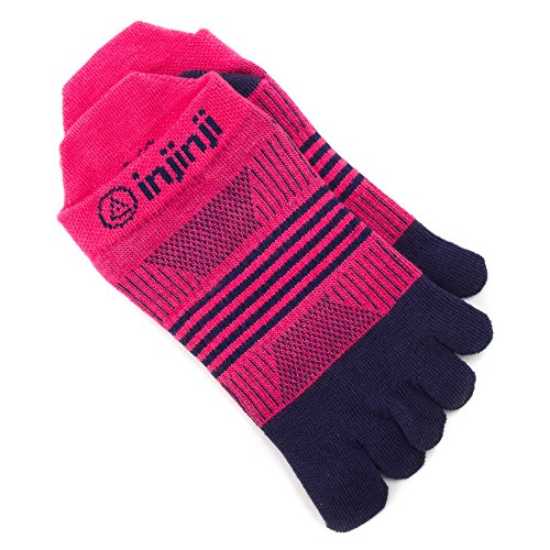 Injinji Run 2.0 Light Weight No Show CoolMax Damen Zehensocke-NAVY-PINK-XS/S (35-40 EU)