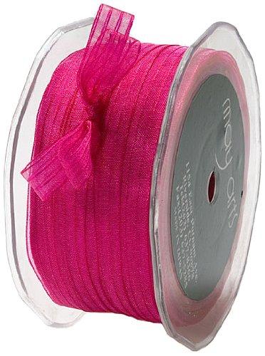 May Arts 3/8-Inch Wide Ribbon, Fuchsia Sheer Iridescent