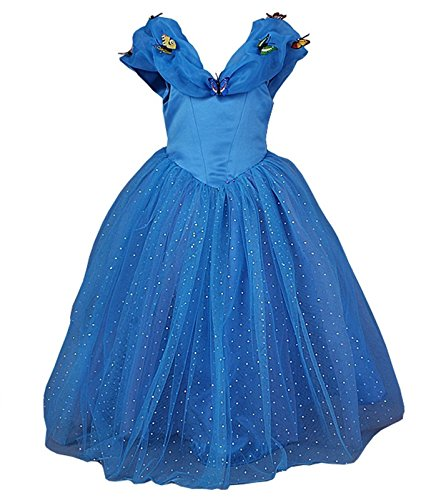 [Goodcorsetmall 2015 New Cinderella Dress Princess Costume Butterfly Girl,7-8/ Tag size:150,Blue] (Cinderella Costumes For Girl)