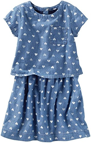 Oshkosh Kids Dress (OshKosh B'gosh Girls' Woven Dress 32158310, Denim, 7 Kids)