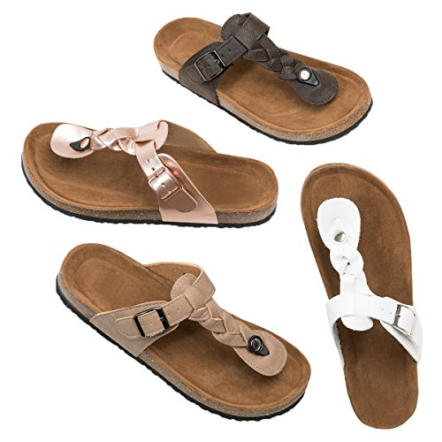 Womens Buckle Flat Sandals Gladiator Summer Casual Beach Shoes with Ankle Straps by GAMISOTE (Image #1)