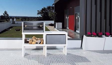 Barbacoa de Obra máximo diseño y calidad,De hormigón bruto hidrófugo blanco y negro 155 x 52 x 116 cm.: Amazon.es: Hogar