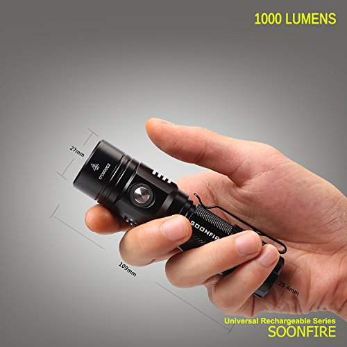 Soonfire Multifunctional 1000 Lumen Ultra-bright Rechargeable CREE XP-L LED EDC Flashlight with 18650 3400mAh Rechargeable Li-ion battery (Black) by soonfire (Image #7)