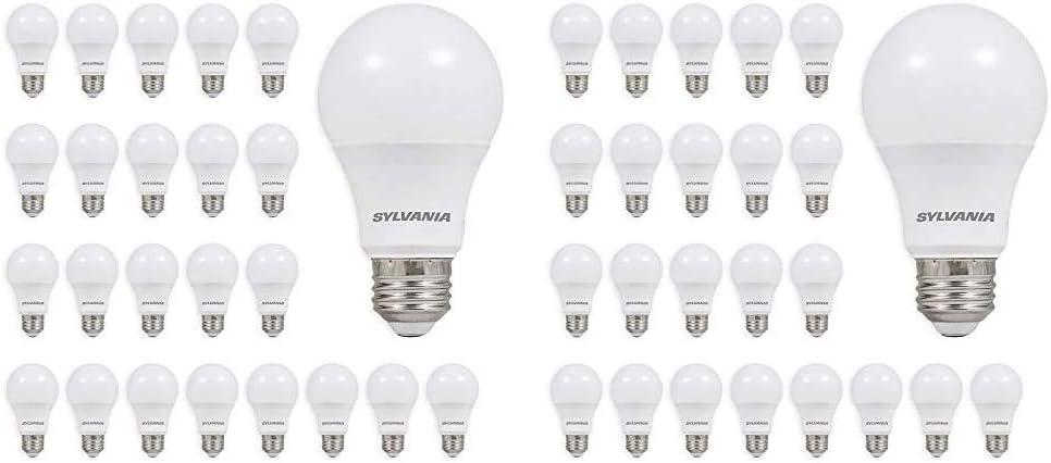 Sylvania A19 LED Light Bulb, 60W Equivalent, 24 Soft White Bulbs and 24 Daylight Bulbs (48 Bulbs Total)