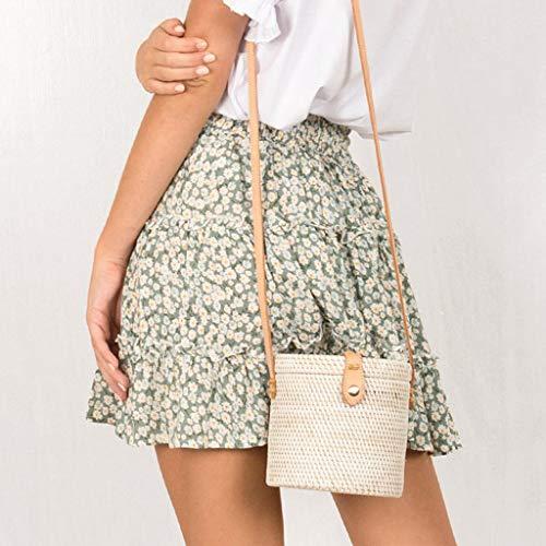 TWGONE Ruffled Mini Skirt For Women Summer Bohe High Waist Floral Print Beach Short Skirt (X-Large,Green) by TWGONE (Image #3)