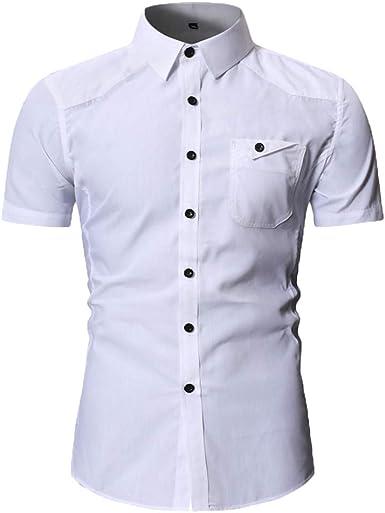 Camisa de Vestir de Manga Corta con Botones para Hombre Delgados Militares Casuales Blusa Camisas Blanco M: Amazon.es: Ropa y accesorios