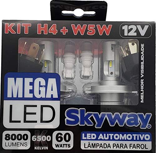 KIT Skyway Lâmpada MEGA LED - Modelo H4 + W5W - 12V - 6500K - 1 Conjunto