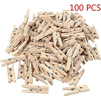 40 Small Wooden Craft Pegs Photo Hanging Spring Clip Assorted Colours 25mm