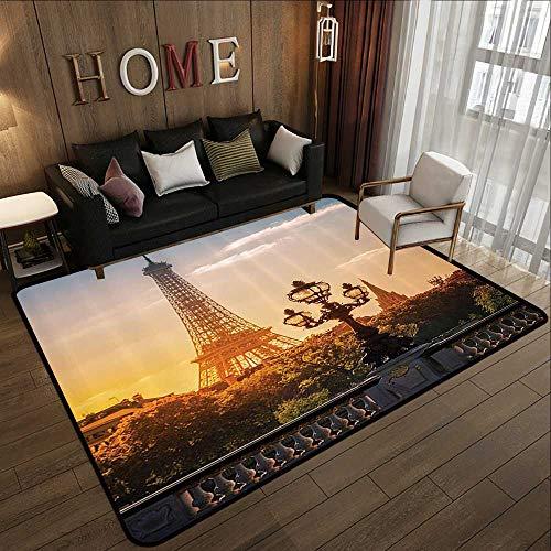 Kitchen Floor mats,Wanderlust Decor Collection,Street Lantern on The Alexandre Iii Bridge Against The Eiffel Tower in Paris France Picture, 47