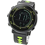 LAD WEATHER] Swiss Sensor Watches Digital Compass Altimeter Weather Forecast Barometer Thermometer Alarm Calendar Chronograph Stopwatch Timer (Green)