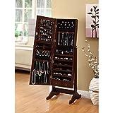 BTEXPERT Premium Cherry Jewelry Cabinet Armoire Box Floor Stand Storage Organizer Case Drawer Safety Lock