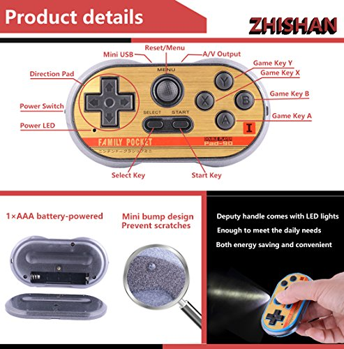 ZHISHAN Retro Games Controller Mini Classic Handheld Game Console Toys for Kids Gamepad Joystick Support Dual Battle Load in 260 Video Games Connect and Play with TV Gaming Station (Black+Blue) by ZHISHAN (Image #5)