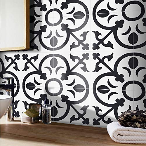 Moroccan Mosaic & Tile House CTP31-02 Nador Handmade Cement Tile in White and Black