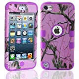 Lantier For iPod Touch 5th Case,Plastic 3 Layer TUFF Hard Cover Camo Triple Hybrid Silicone Quakeproof Drop Resistance Protective Shell Case for iPod Touch 5 5th Generation with Screen Protector and Stylus Pen Pink Branch/Purple
