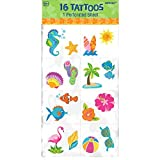 Amscan Hawaiian Summer Luau Party Tattoo (16 Pack), Multi Color, 9.2 x 4.3