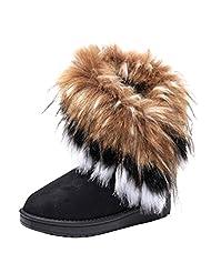 Optimal Women Faux Fox Fur Snow Warm Boots Shoes
