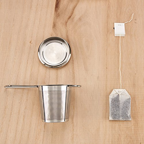 EZOWare Tea Infusers for Loose Leaf Tea [Set of 4] Stainless Steel Fine Mesh Tea Strainer with Handle and Lid, Reusable Tea Steeper for Tea Pot, Cup, Mug by EZOWare (Image #7)