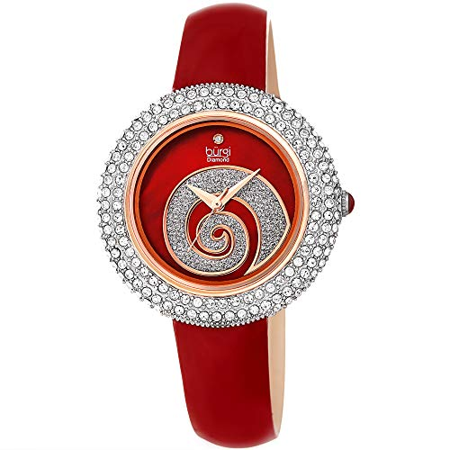(Burgi Swarovski Crystals Encrusted Quilted Dial - Sparkle Swirl Mother of Pearl Dial - Slim Leather Strap Women's Watch - Mothers Day Gift - BUR209RD (Imperial Red))