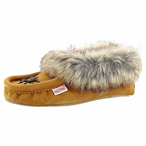SoftMoc Womens Cute Faux Me Crepe Sole Faux Fur Moccasin Tan