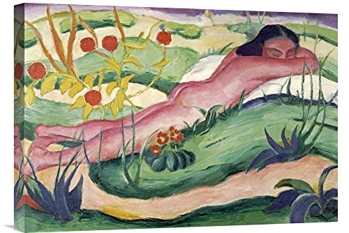 """Global Gallery GCS-265157-22-142 """"Franz Marc Nude Lying In The Flowers"""" Gallery Wrap Giclee on Canvas Print Wall Art"""