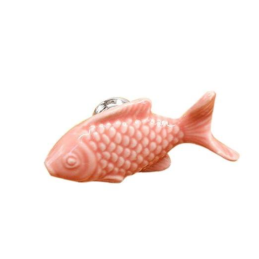 Children Drawer Knobs Fish Shape Ceramic Handles For Kids Room