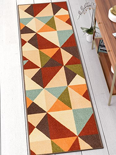 Well Woven 66602 Kings Court Vector Modern Red Geometric 2' x 7' Runner Indoor/Outdoor Area ()