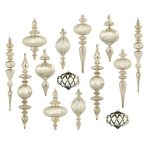 Set of 14 Large Christmas Tree Ornaments, Antique Silver Mercury Glass, Heirloom (Mercury Ball Ornaments)
