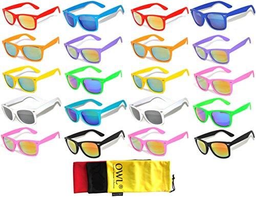 20 Pieces Per Case Wholesale Lot Glasses Assorted Colored Frame Bulk Sunglasses Mirror Lens Party Glasses - Sunglass Lot