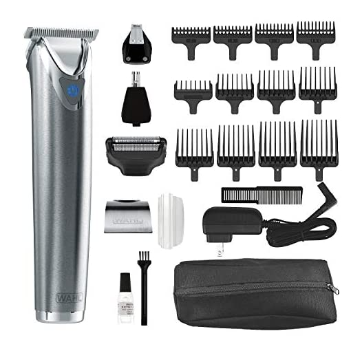 Wahl Stainless Steel Lithium Ion Plus - Beard Trimmer and Shaver for Men | Nose and Ear Hair Trimmer | Rechargeable All in One Men's Grooming Kit | By the Brand Used by Professionals | Model 9864SS - 513y1Ny3wDL - Wahl Stainless Steel Lithium Ion 2.0+ Slate Beard Trimmer for Men – Electric Shaver, Nose ear trimmer, Rechargeable All In One Men's Grooming Kit – model 9864Ss