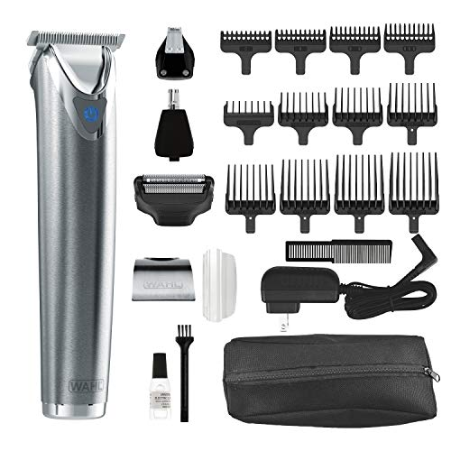 (Wahl Stainless Steel Lithium Ion Plus - Beard Trimmer and Shaver for Men | Nose and Ear Hair Trimmer | Rechargeable All in One Men's Grooming Kit | By the Brand Used by Professionals | Model 9864SS)