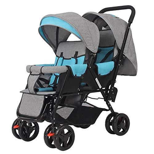 LQRYJDZ Double Stroller,Sitting Back and Forth Tandem Stroller, with Adjustable Backrest, Footrest, 5 Points Safety Belts, Foldable Design for Easy Transportation (Color : D)