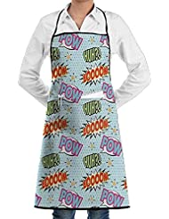 huameijiaju Retro 50s 60s Image with Baloons Quotes Baby Blue Aract Polka Dot Kitchen Apron with Pockets