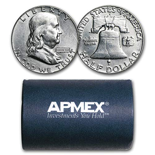 1948-1963 90% Silver Franklin Halves $10 20-Coin Roll AU Silver About ()