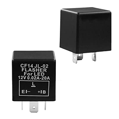 YUNPICAR 3-Pin CF14 EP35 JL-02 12V 0.02A-20A Electronic LED Flasher Relay For LED Hyper Fast Blink for Turn Signal Light Bulbs: Automotive