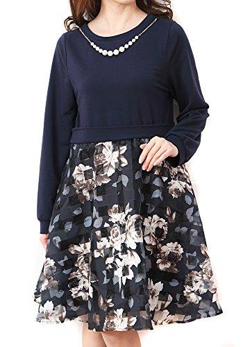 (Goldjapan) ゴールドジャパン 大きいサイズ レディース ドレス パール ネックレス付き 花柄 ドッキングワンピース ワンピース maru-333674