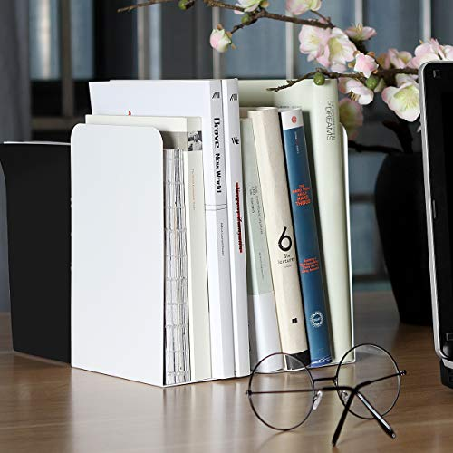 - ABUFF 2 Pcs Modern Bookends White, Decorative Metal Nonskid Book Ends Supports Books, Movies, DVDs, Magazines, Video Games, Standard, 8.0 x 3.85 x 5.3 inch Inch