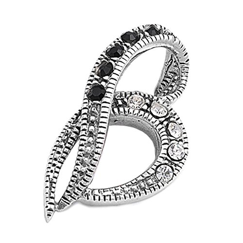 (Heart Pendant Black Simulated CZ Clear Simulated CZ .925 Sterling Silver Charm - Silver Jewelry Accessories Key Chain Bracelet Necklace Pendants)
