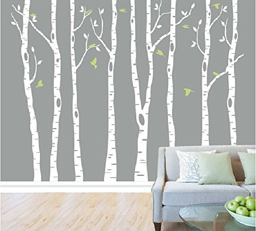 Set of 8 White Birch Tree Wall Decal Nursery Tree Wall Stickers Tree Wall Decals for Kids Room Living Room Wall Decor - White Birch Farm
