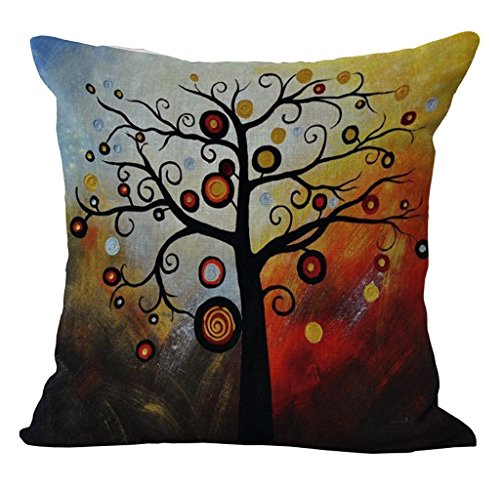 Linen Blend Tree Of Life Pattern Sofa Seat Cushion Cover Cotton Pillowslip Square Decorative Throw Pillow Case 18 X 18 pattern 2