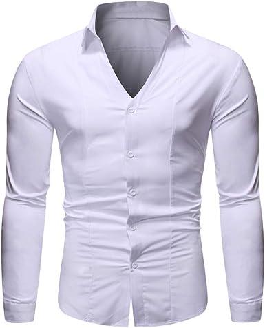 iYmitz Camisa de Hombre Simple y Elegante de Color sólido Manga Larga Camisa Casual con Botones y Cuello en V Camiseta de poliéster Henley Grandad Cuello Playera de Ocio S-XXL Blanco Blanco