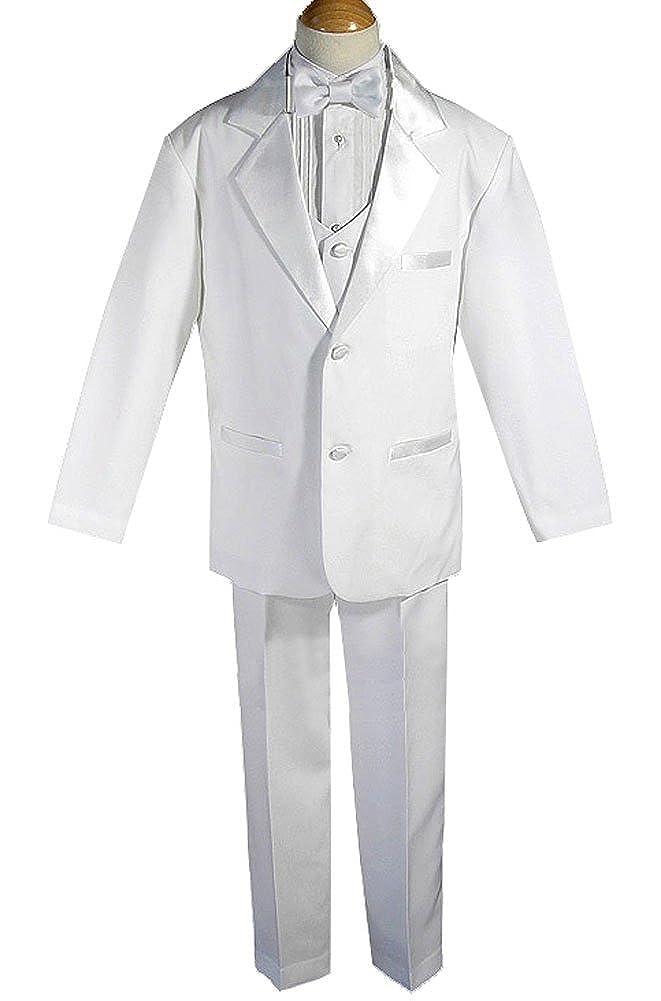 AMJ Dresses Inc Big Boys 5 Pieces White Communion Wedding Tuxedo Suit