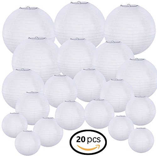 "Supla 20 Pack Chinese White Paper Lantern Hanging paper lanterns White Round Paper Lanterns 4"" 6"" 8"" 10"" 12"" white hanging lanterns Wedding Party Decorations"