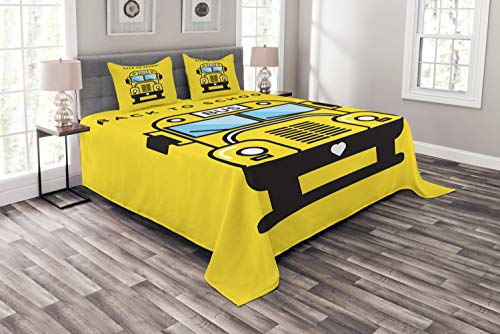 Ambesonne School Bus Bedspread, Funky Illustration of 4 Wheel Transport, Decorative Quilted 3 Piece Coverlet Set with 2 Pillow Shams, Queen Size, Yellow Black