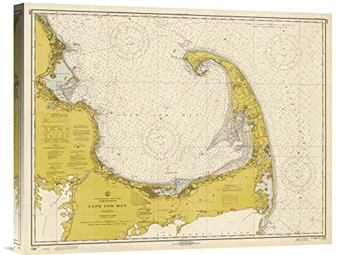 Global Gallery GCS-450536-22-142 NOAA Historical Map & Chart Collection Nautical Chart - Cape Cod Bay Ca. 1970 - Sepia Tinted Gallery Wrap Giclee on Canvas Wall Art Print (Cape Canvas Cod)