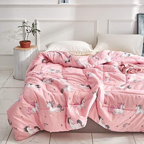 (Uozzi Bedding Summer Unicorn Comforter Twin Pink with Stars and Rainbows 100% Microfiber Hypoallergenic Girls 68x88 Unicorns Duvet Iinsert Cute All-Season Bed Comforters for Kids Teen Women)