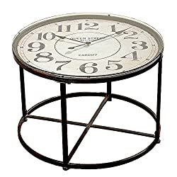 The Industrial Chic Clock Table, Vintage Style, Metal with Glass Top, Quartz Movement, 31 1/2 Diameter x 22 High, from Our Loft Living Collection, By Whole House Worlds